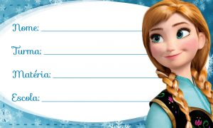 Etiqueta Escolar Anna Frozen Azul para Imprimir