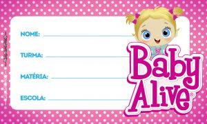 Aulas Baby Alive Etiqueta Escolar