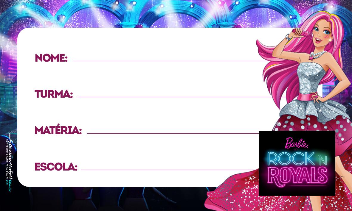 Barbie in RockRoyals Etiqueta Escolar