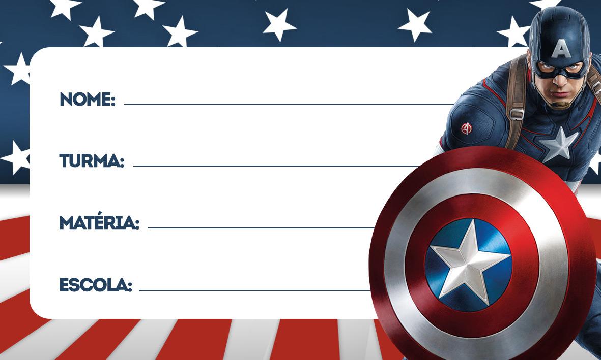 Capitão América Etiqueta Escolar Personalizada