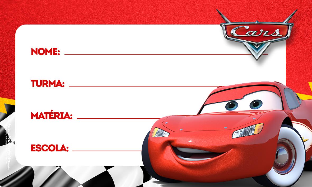 Carros Relâmpago MCquenn Etiqueta Escolar