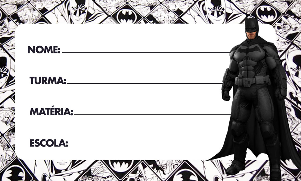 Etiqueta Escolar Batman Dark para Imprimir