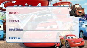 Etiqueta Escolar Carros Disney
