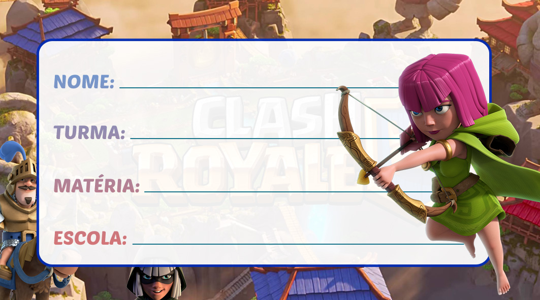 Etiqueta Escolar Clash Royale