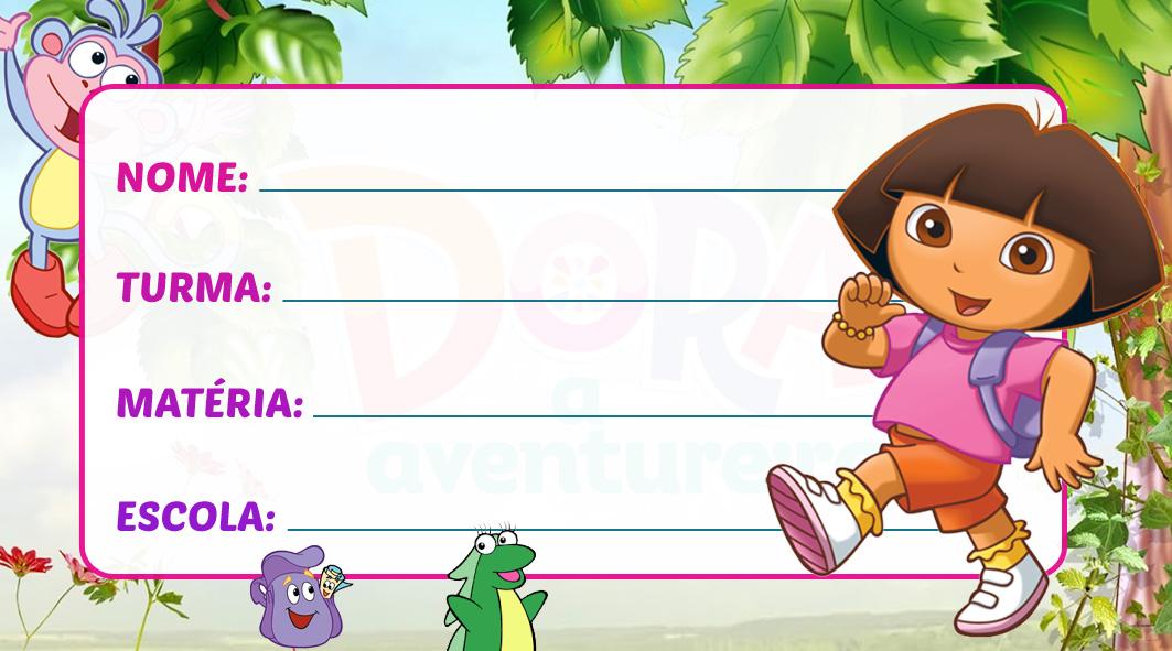 Etiqueta Escolar Dora Aventureira