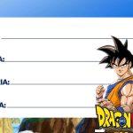 Etiqueta Escolar Dragon Ball Z para Imprimir