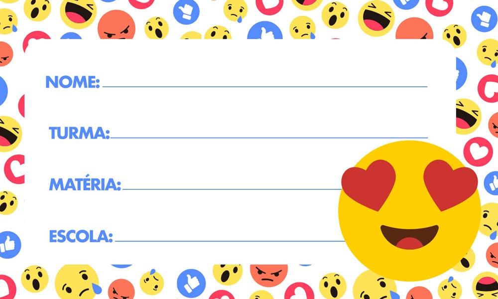 Etiqueta Escolar Emoji Apaixonado para Imprimir