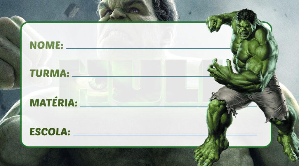 Etiqueta Escolar Hulk