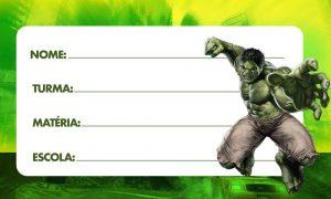 Etiqueta Escolar Hulk para Imprimir