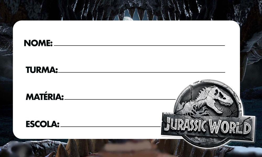 Etiqueta Escolar Jurassic World para Imprimir