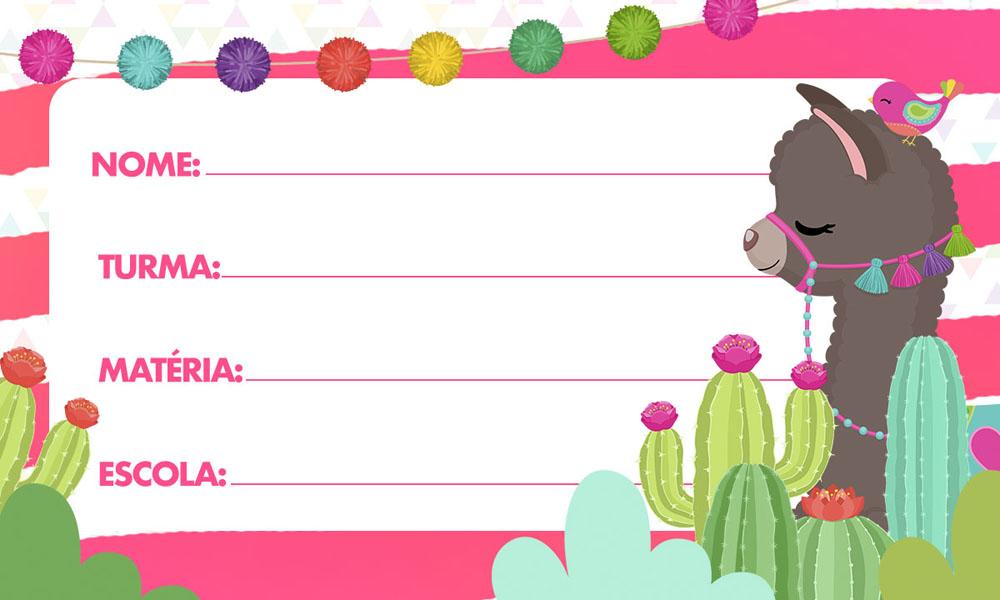 Etiqueta Escolar Lhama Rosa para Imprimir