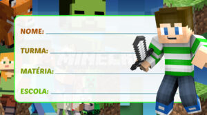 Etiqueta Escolar Minecraft