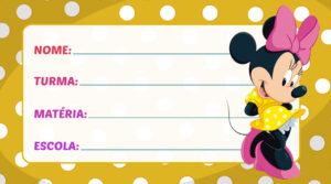Etiqueta Escolar Minnie Vestido Amarelo