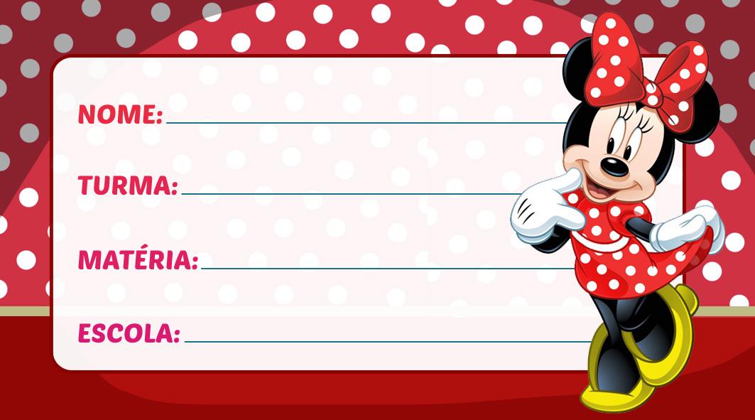 Etiqueta Escolar Minnie Vestido Vermelho
