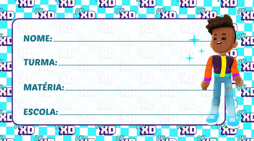 Etiqueta Escolar PK XD Moreno para Imprimir