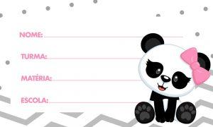 Etiqueta Escolar Panda para Imprimir