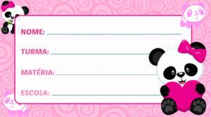Etiqueta Escolar Panda Rosa