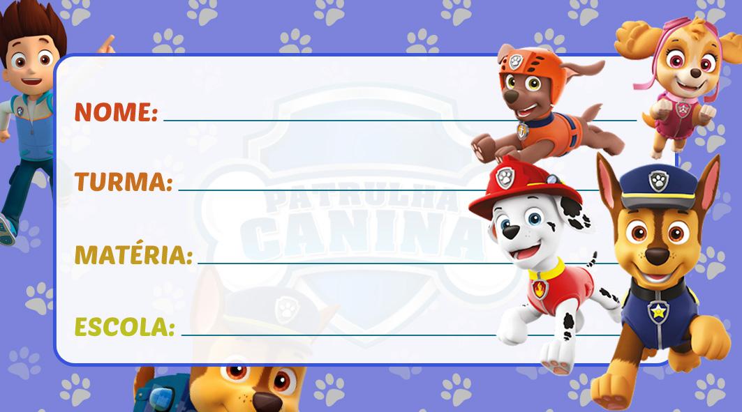 Etiqueta Escolar Patrulha Canina