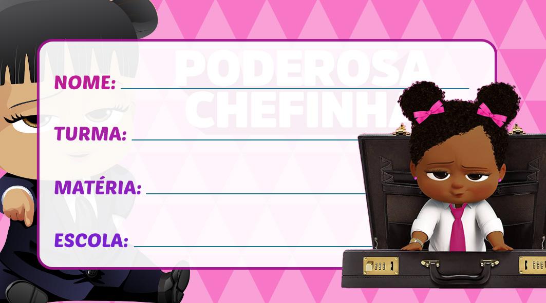Etiqueta Escolar Poderosa Chefinha Morena Negra Afro