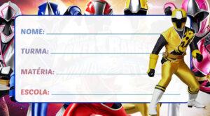 Etiqueta Escolar Power Rangers Ninja Steel