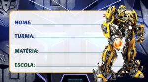 Etiqueta Escolar Transformers