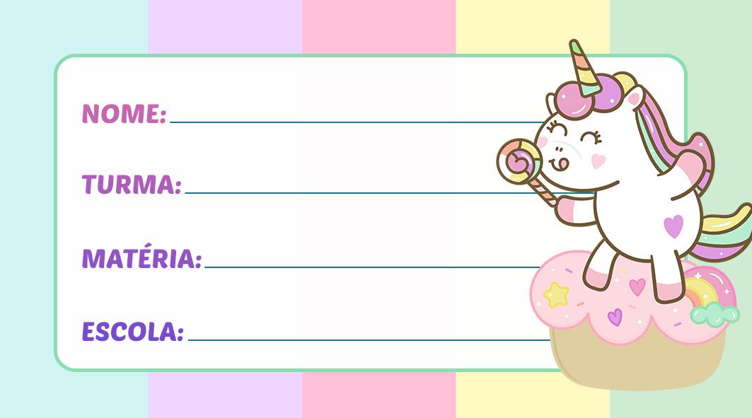 Etiqueta Escolar Unicórnio Candy Color