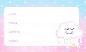 Etiqueta Escolar Nuvem para Meninas