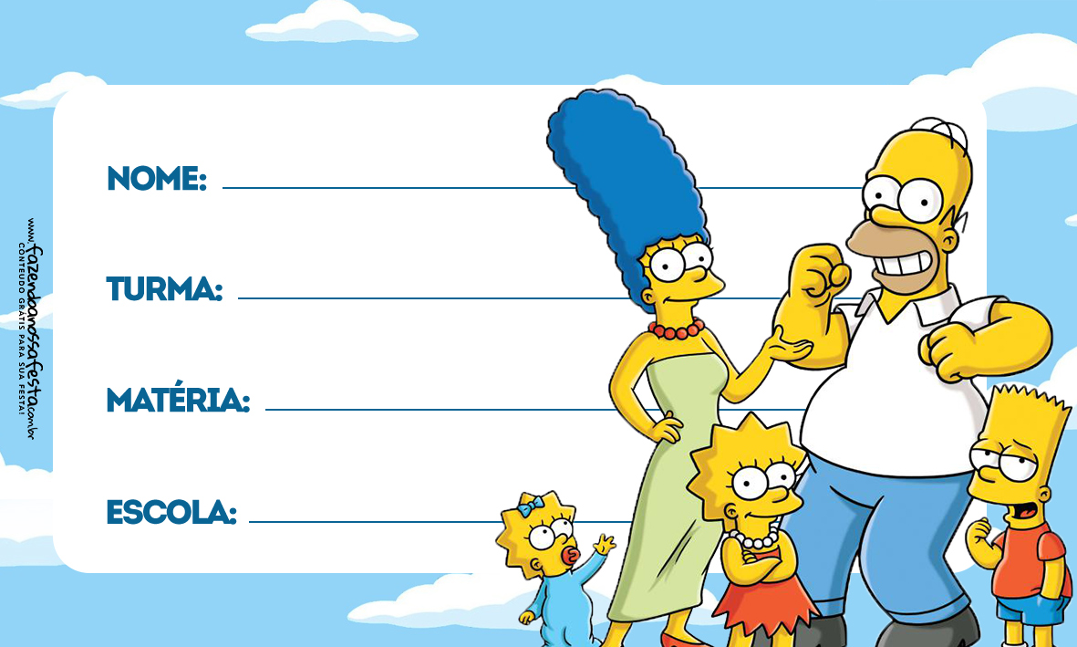 Família Simpsons Etiqueta Escolar para Imprimir