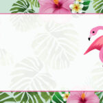 Flamingo Tropical Etiqueta Escolar para Imprimir