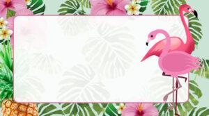 Flamingo Tropical Etiqueta Escolar para Imprimir