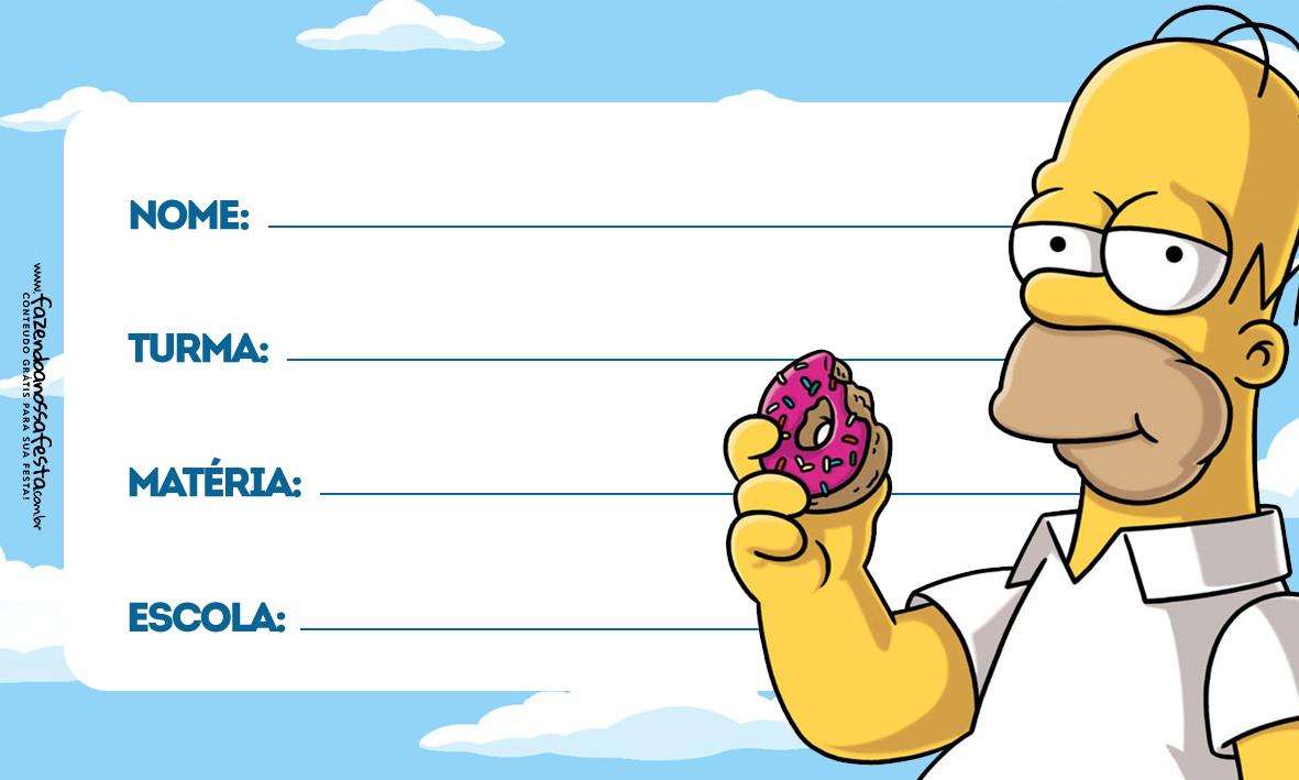 Home Simpsons Etiqueta Escolar Personalizada
