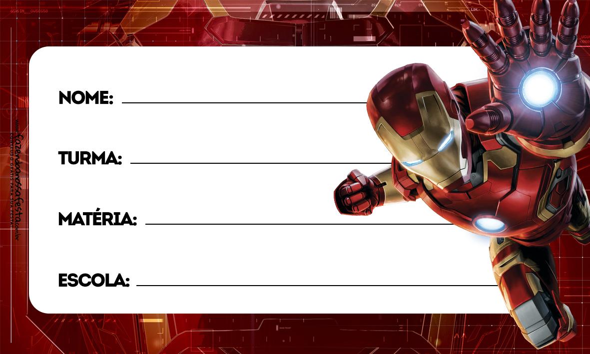 Homem de Ferro Etiqueta Escolar Personalizada