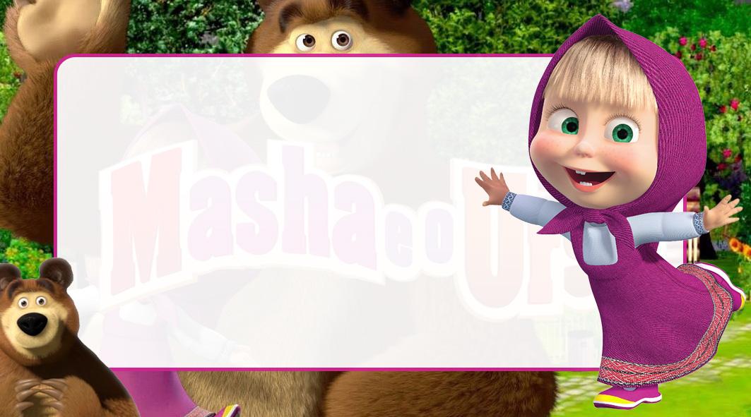 Masha e o Urso Etiqueta Escolar para Imprimir
