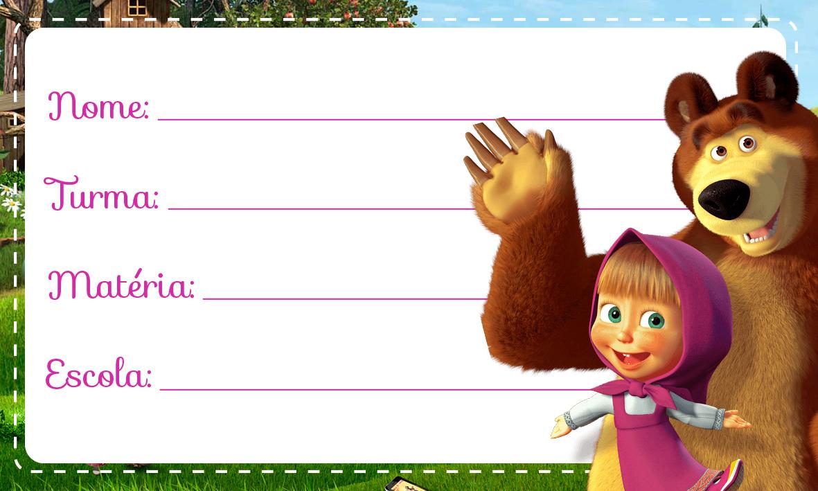 Masha e o Urso Etiqueta Escolar