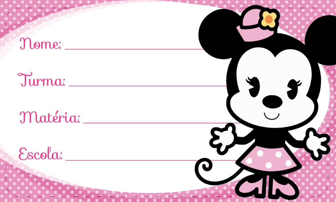 Minnie Rosa Cute Etiqueta Escolar