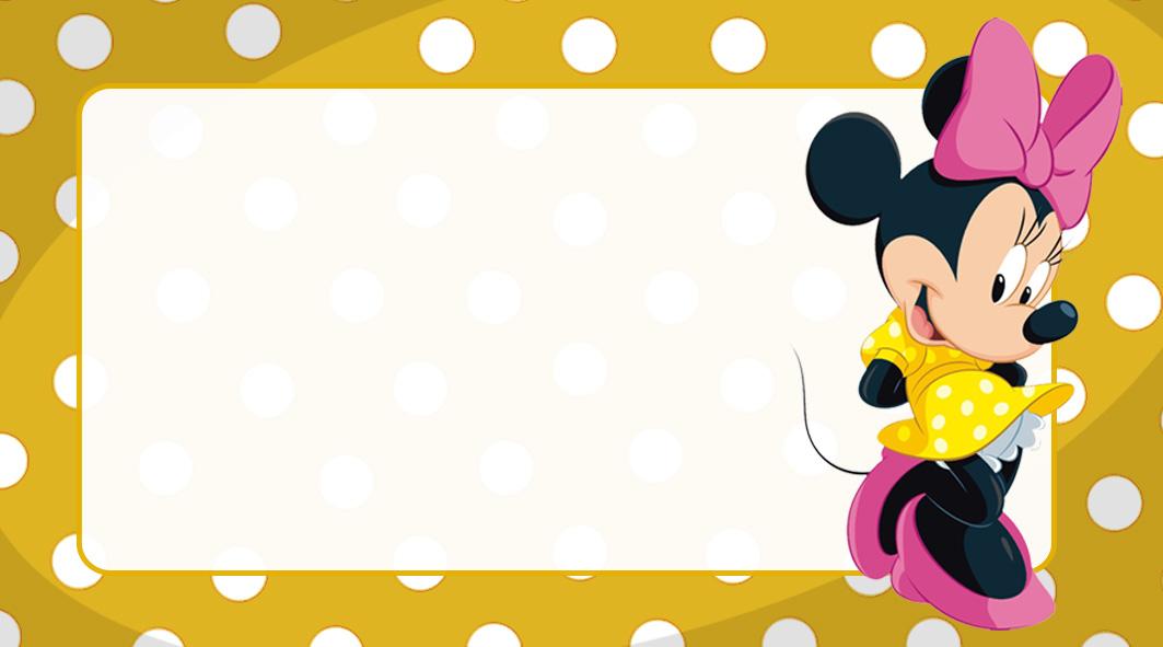 Minnie Vestido Amarelo Etiqueta Escolar para Imprimir