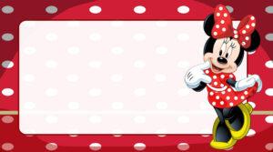 Minnie Vestido Vermelho Etiqueta Escolar para Imprimir