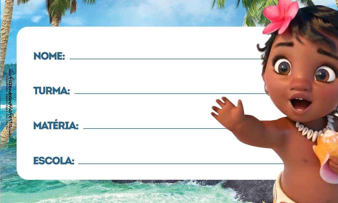 Moana Baby Etiqueta Escolar para Imprimir