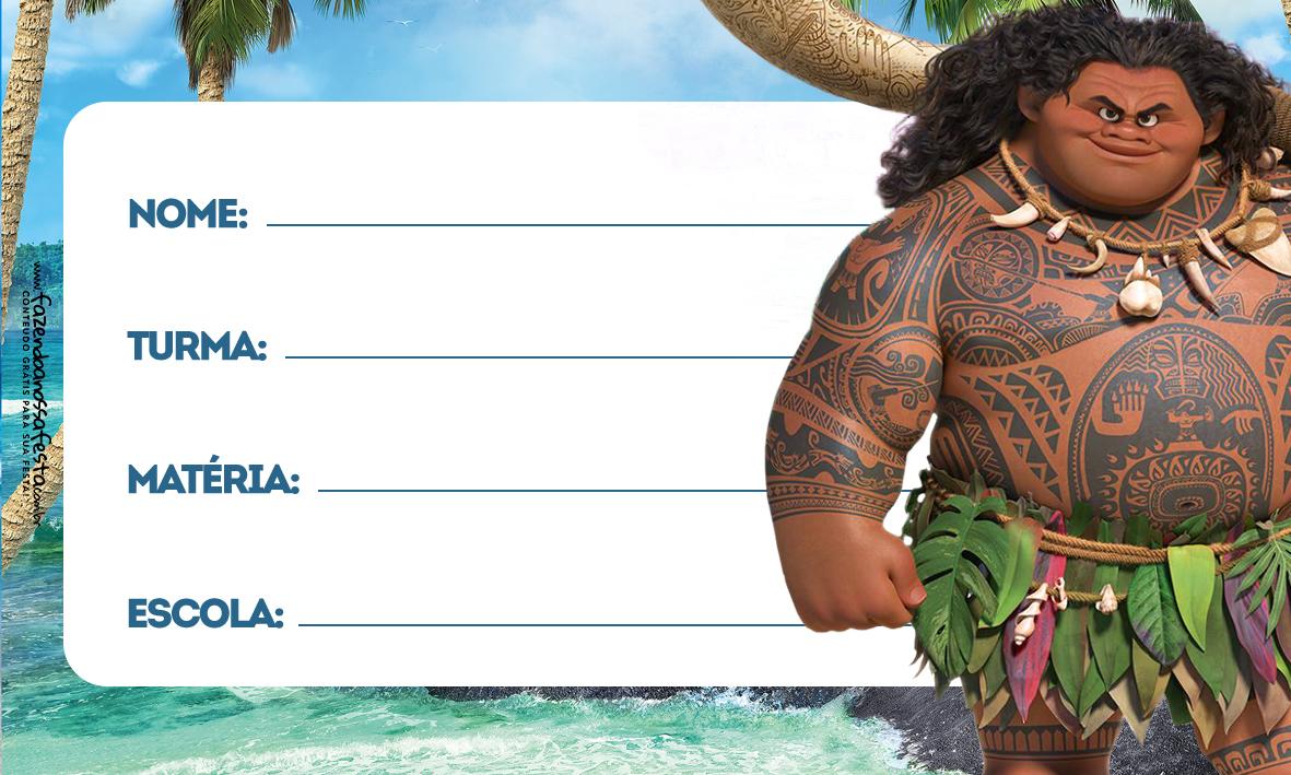 Moana Maui Etiqueta Escolar para Imprimir