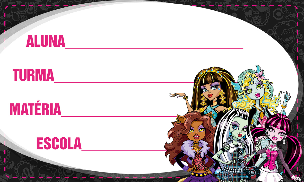 Monster High Etiqueta Escolar