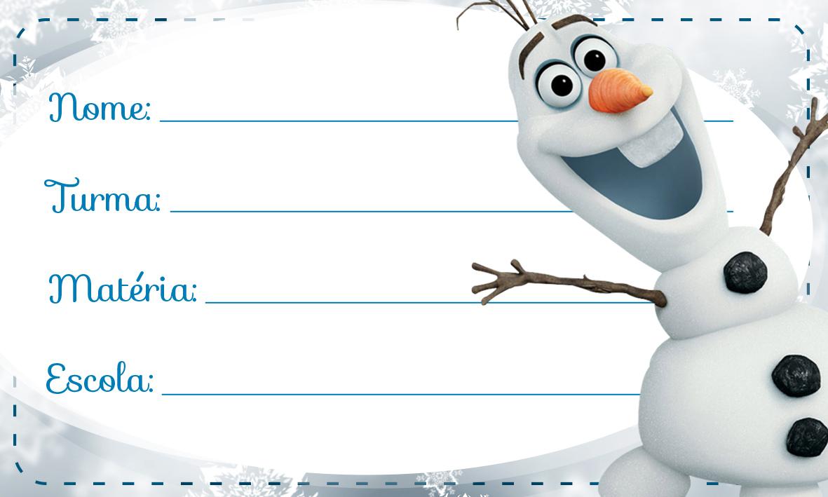 Olaf Frozen Etiqueta Escolar
