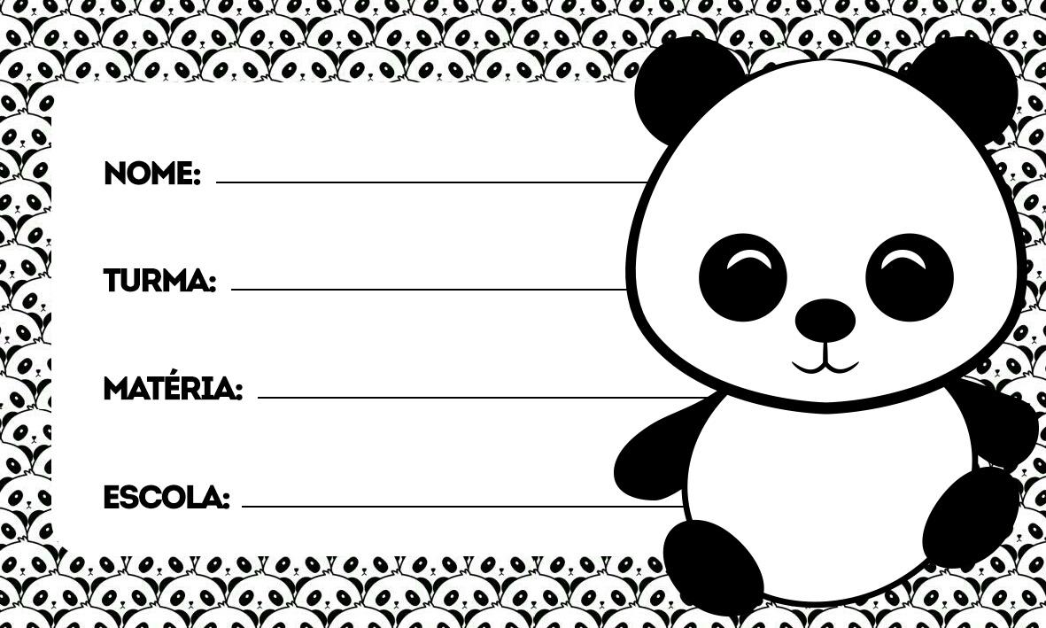 Panda Etiqueta Escolar Personalizada
