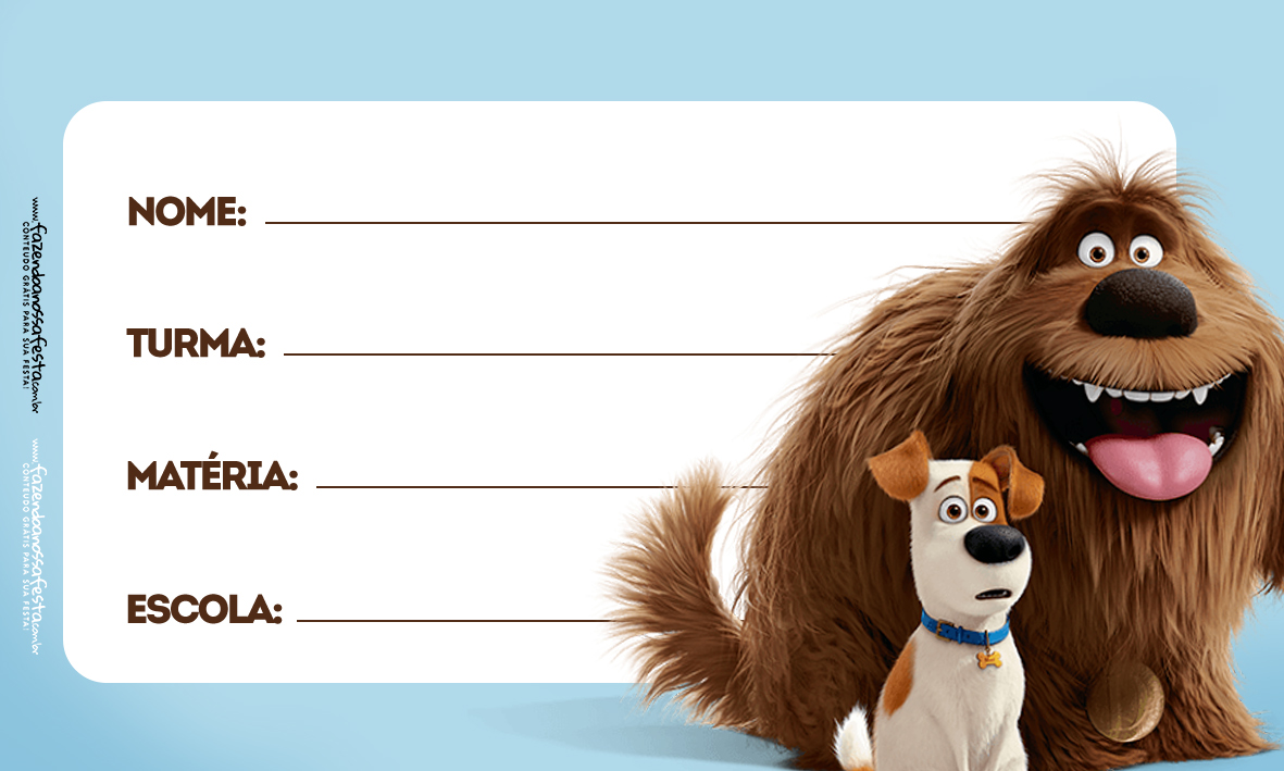 Pets Etiqueta Escolar para Imprimir