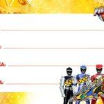Power Rangers Etiqueta Escolar para Imprimir