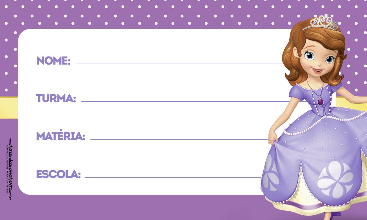 Princesa Sofia Etiqueta Escolar para Imprimir