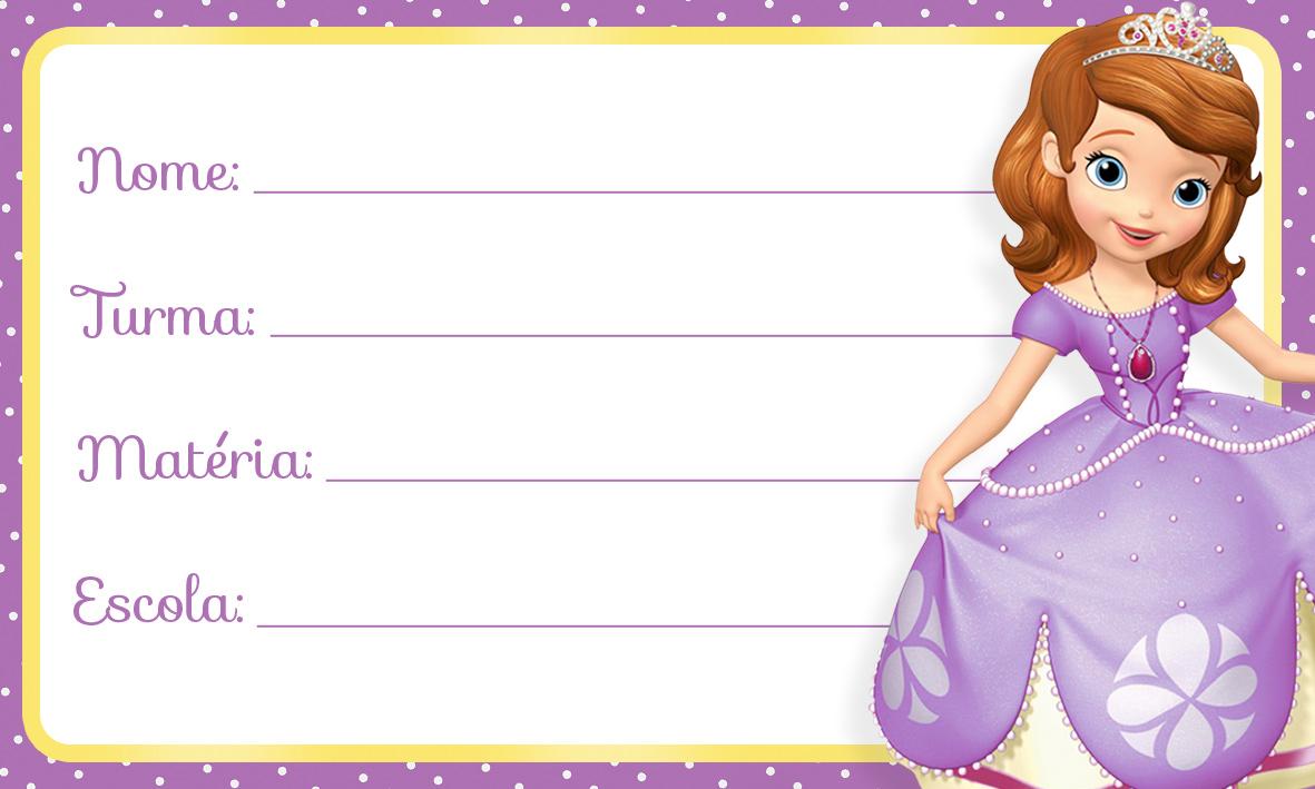 Princesinha Sofia Etiqueta Escolar para Imprimir
