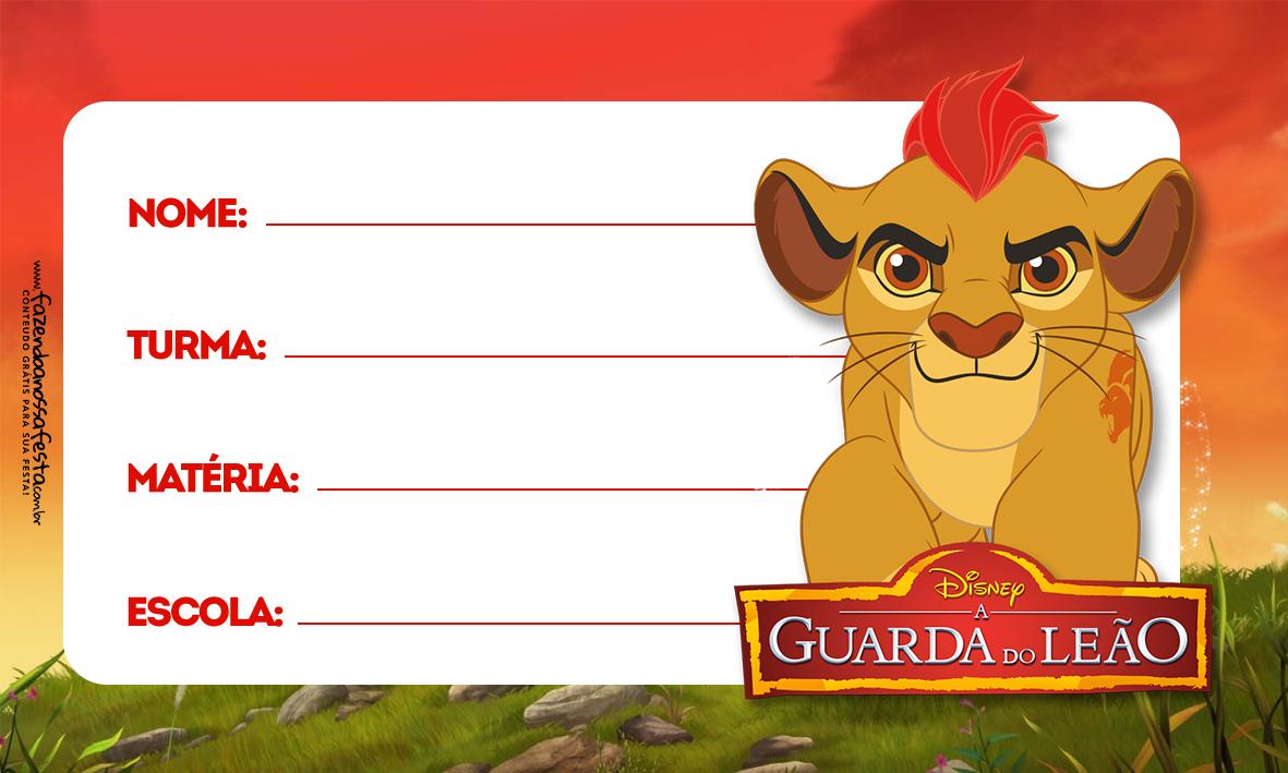 Rei Leão Etiqueta Escolar Personalizada