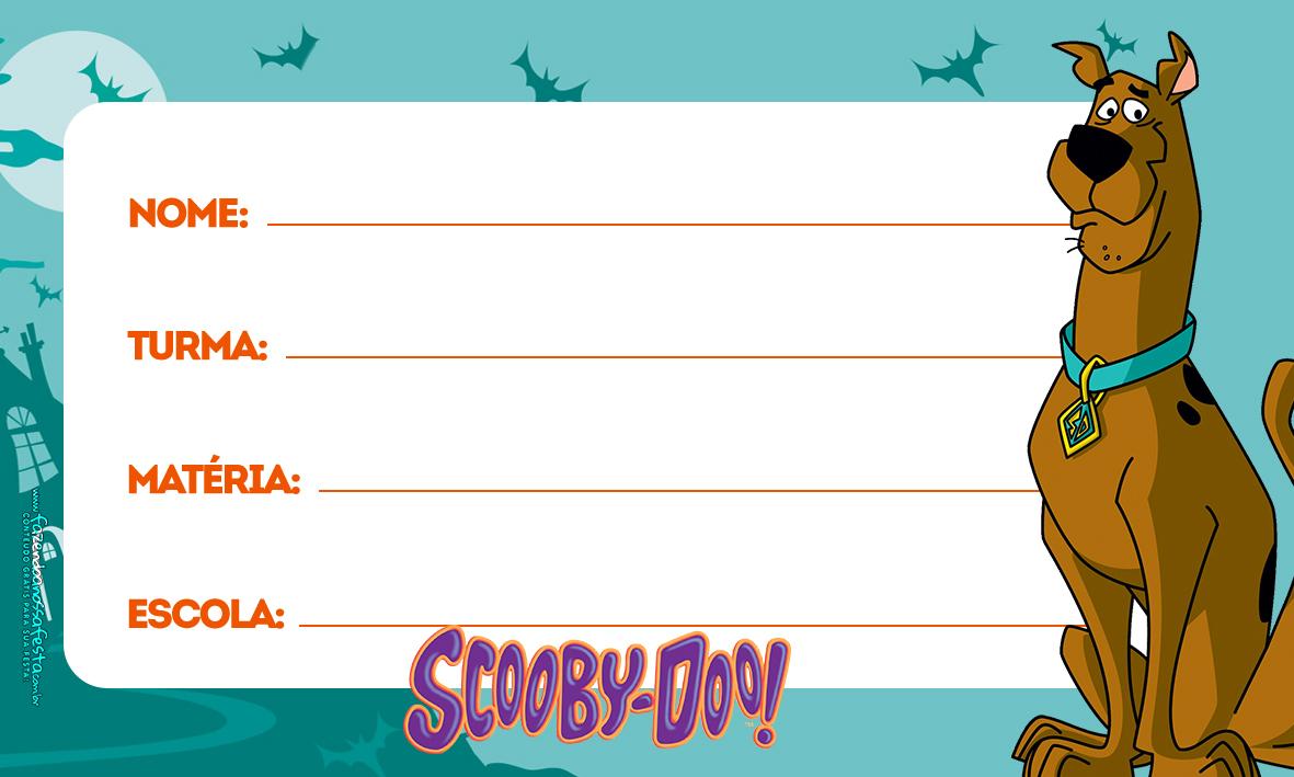 Scooby Doo Etiqueta Escolar para Imprimir