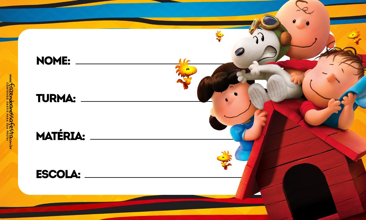 Snoopy Etiqueta Escolar para Imprimir