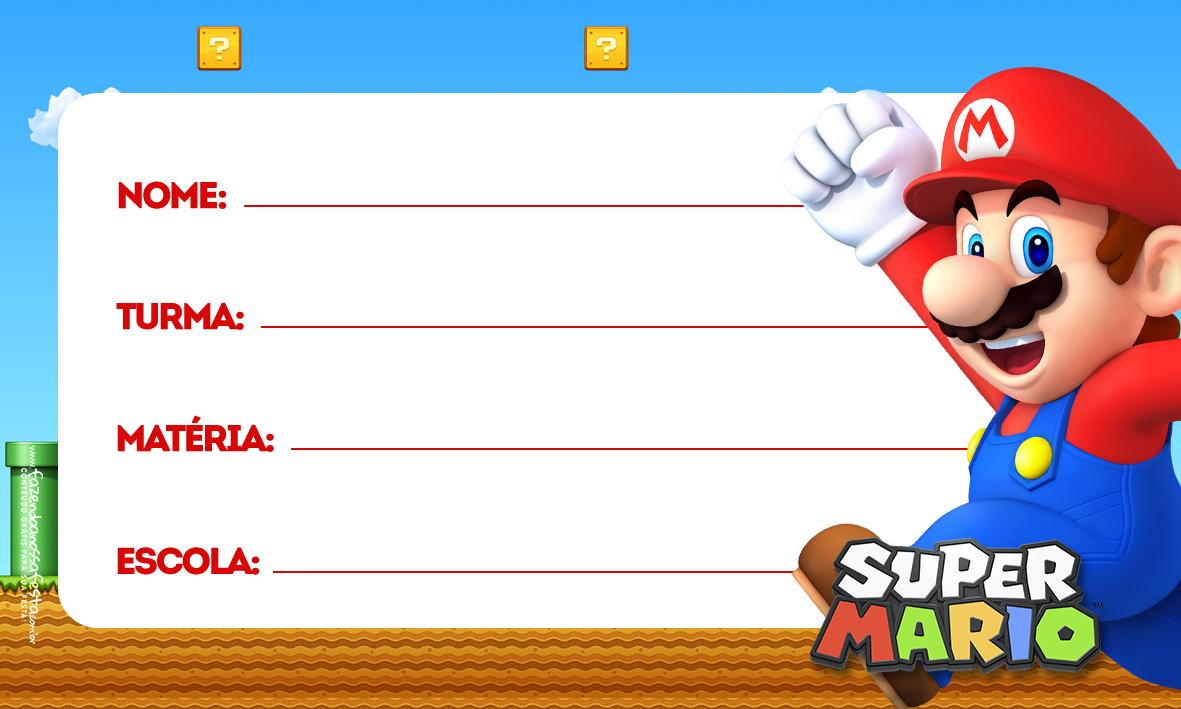 Super Mario Etiqueta Escolar para Imprimir